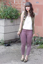 brick red H&M pants - white Forever 21 top - olive green Old Navy vest