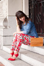 Red-floral-print-forever-21-pants-sky-blue-denim-urban-outfitters-shirt