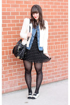 black polka dots Forever 21 dress - white Zara blazer - blue Forever 21 shirt