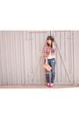Hot-pink-patchwork-asos-blazer-blue-distressed-gap-jeans