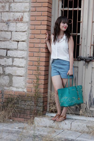 turquoise blue Michael Kors bag - sky blue Forever 21 shorts