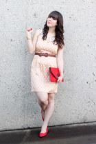 neutral polka dots luluscom dress - red vintage bag - red versace flats
