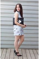 black DIY bag - light blue eye print Choies dress - black Forever 21 heels