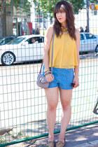 mustard Forever 21 shirt - sky blue Forever 21 shorts