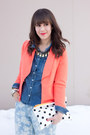 Coral-coral-forever-21-blazer-light-blue-floral-print-joe-fresh-jeans