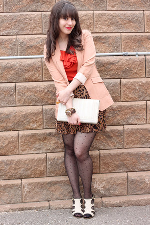 brown leopard print urban behavior skirt - peach H&amp;M blazer