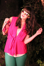 teal winners jeans - yellow Ray Ban sunglasses - hot pink vintage vest