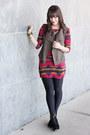 Black-michael-kors-boots-maroon-navajo-print-luluscom-dress