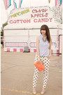 White-polka-dot-forever-21-jeans-coral-jcrew-bag
