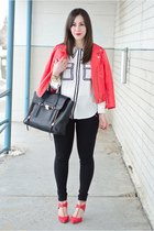 white graphic Joe Fresh blouse - red leather Rebecca Minkoff jacket