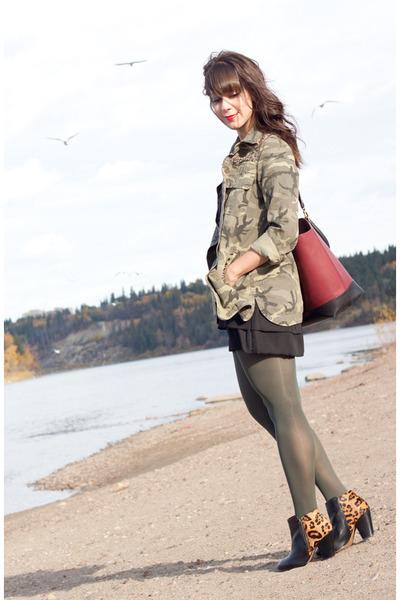 army green camo Zara jacket - black leopard print Aldo boots