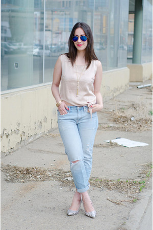 light pink silk Malorie Urbanovitch shirt - light blue boyfriend jeans Gap jeans