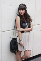 off white Forever 21 dress - black H&M bag - black Forever 21 vest