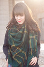 Dark-green-plaid-urban-outfitters-scarf-black-ankle-boots-aldo-boots