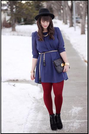 H&M dress - Michael Kors boots - H&M hat - Forever 21 tights - Michael Kors bag