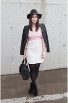 black Topshop hat - pink French Connection dress - black Tahari blazer