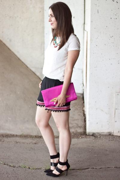 black pom poms Forever 21 shorts - hot pink lip clutch Diane Von Furstenberg bag