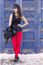 red Joe Fresh jeans - black leather studs Zara jacket