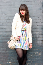 white feather print Forever 21 dress - ivory Zara blazer