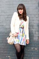 white feather print Forever 21 dress - ivory Zara blazer