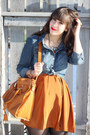 Blue-forever-21-shirt-burnt-orange-h-m-dress-tan-forever-21-loafers