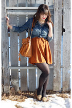 blue Forever 21 shirt - burnt orange H&M dress - tan Forever 21 loafers