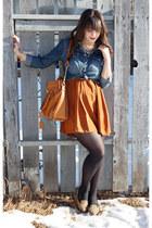 blue Forever 21 shirt - burnt orange H&M dress - tan Forever 21 loafers