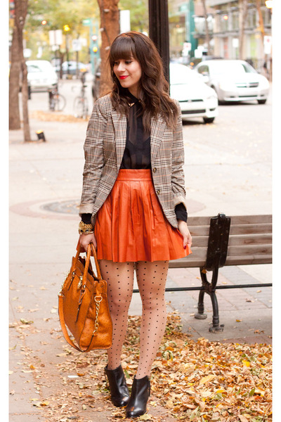 Burnt Orange Alice & Olivia Leather Skirt | Chictopia