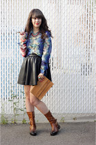 blue Forever 21 blouse - dark brown Vince Camuto boots - camel vintage YSL bag