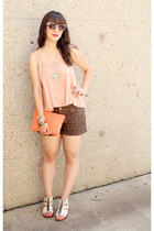 dark brown leopard print Forever 21 shorts - coral JCrew bag