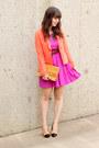 Fuchsia-forever-21-dress-coral-forever-21-blazer-tan-vintage-ysl-bag