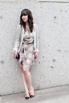 heather gray Loft 82 dress - heather gray Zara blazer - nude Zara pumps