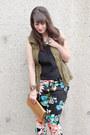 Black-floral-print-h-m-pants-nude-vintage-ysl-bag-nude-zara-heels