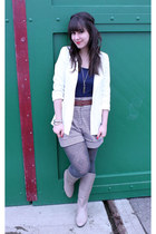 beige Feet First boots - white H&M blazer - light brown Forever 21 shorts - navy