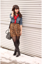 sky blue Forever 21 shirt - red vintage scarf - bronze urban behavior skirt