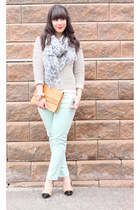 mint Zara pants - eggshell Urban Outfitters sweater - light blue wilfred scarf