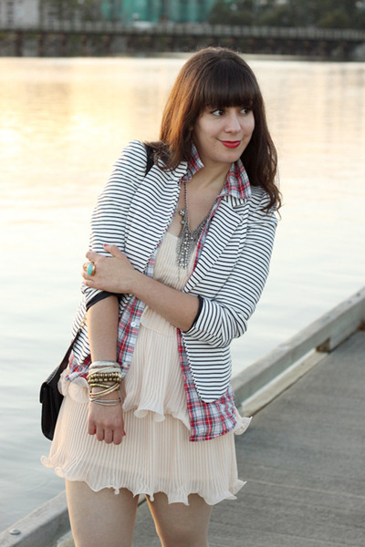 light pink H&M dress - white striped H&M blazer - red plaid boyfriend TNA shirt