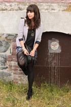 white H&M blazer - black H&M bag - blue joe fresh style shorts - black George to