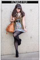 sky blue Decapolis dress - black Michael Kors boots - olive green Old Navy vest