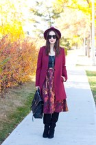 black suede knee high Sole Society boots - brick red Forever 21 coat