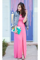 hot pink maxi luluscom dress - sky blue denim H&M jacket