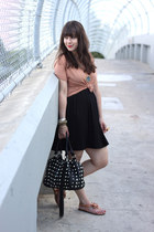 peach H&M top - black H&M dress - black shop mamie bag