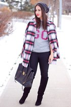 maroon plaid Lord and Taylor coat - black Sole Society boots