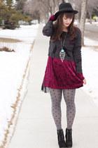 ruby red velvet Forever 21 dress - black Michael Kors boots - black H&M hat