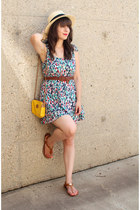 nude H&M hat - turquoise blue Forever 21 dress - yellow vintage bag