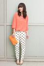 White-polka-dots-forever-21-jeans-light-orange-clutch-jcrew-bag