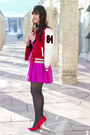 Amethyst-forever-21-dress-red-varsity-forever-21-jacket-red-stylemint-pumps