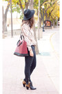 Black-michael-kors-jeans-black-h-m-hat-brick-red-oxblood-zara-bag