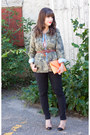 Black-michael-kors-jeans-olive-green-zara-jacket-light-orange-jcrew-bag