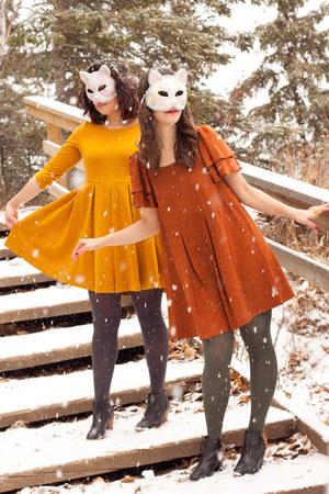 burnt orange halloween H&amp;M dress - mustard halloween H&amp;M dress